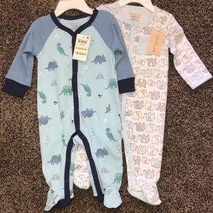 2 NWT pajamas 0-3months
